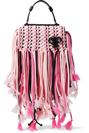e997c829e7 EMILIO PUCCI Leather-trimmed fringed macramé shoulder bag