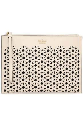 KATE SPADE New York Laser-cut textured-leather pouch