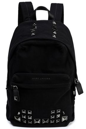 MARC JACOBS Studded leather-trimmed canvas backpack