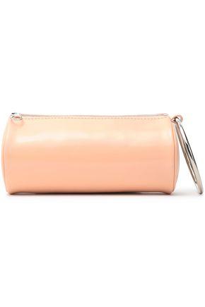 KARA Embellished glossed-leather clutch