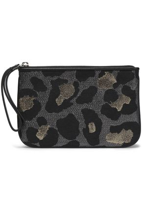 MARC BY MARC JACOBS Metallic leopard-print woven clutch
