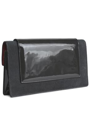 MARC JACOBS Mischief patent-leather and calf hair clutch