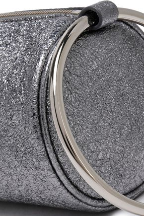 KARA Duffel metallic cracked-leather  clutch