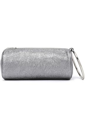 KARA Duffel metallic cracked-leather  clutch