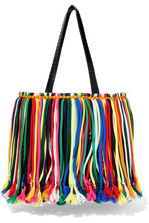 EMILIO PUCCI Fringed leather-trimmed macramé tote