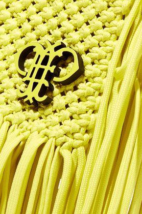 EMILIO PUCCI Leather-trimmed fringed macramé shoulder bag