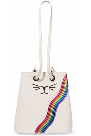 CHARLOTTE OLYMPIA Feline appliquéd leather bucket bag