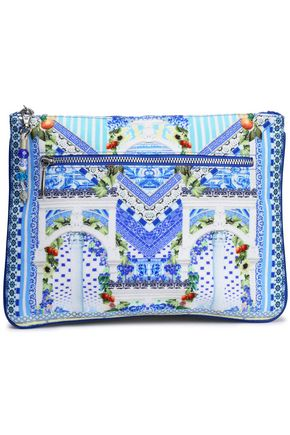 CAMILLA Printed canvas clutch