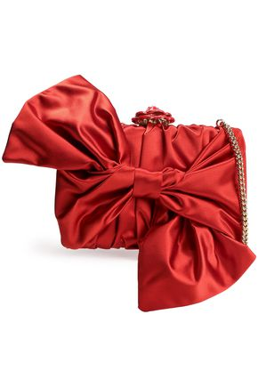 OSCAR DE LA RENTA Bow-embellished satin shoulder bag