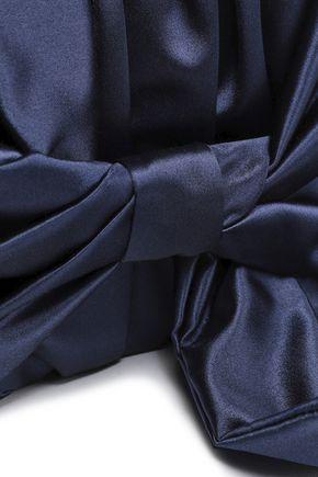 OSCAR DE LA RENTA Rogan bow-embellished satin clutch