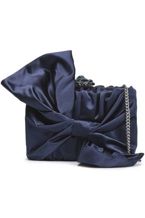 OSCAR DE LA RENTA Rogan bow-embellished satin box clutch