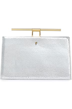 THE VOLON Chateau paneled sequined and textured-leather clutch