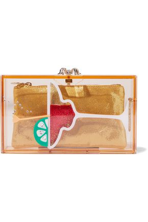 CHARLOTTE OLYMPIA Pandora Cocktail embellished Perspex box clutch