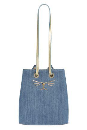 CHARLOTTE OLYMPIA Feline embellished leather-trimmed denim shoulder bag