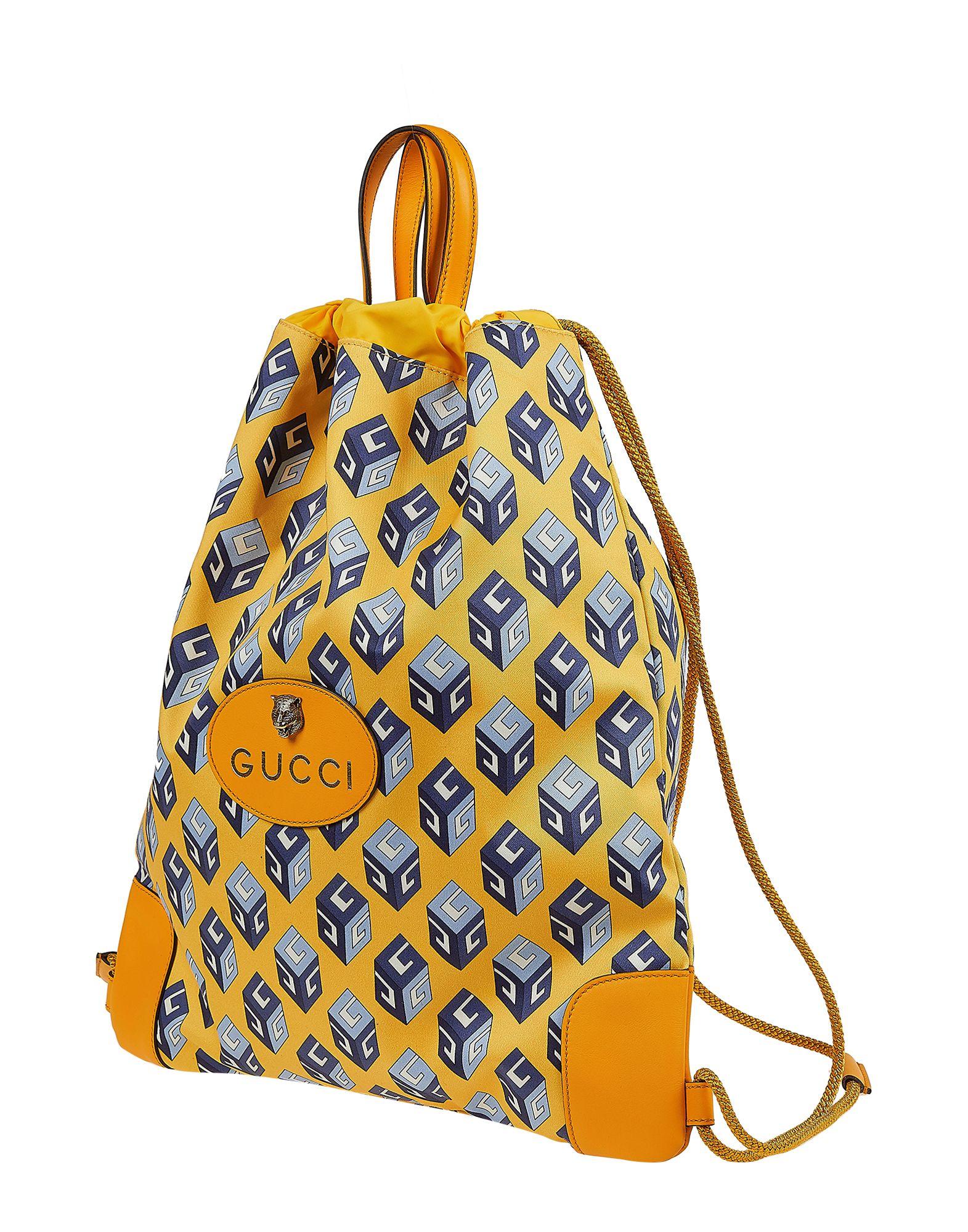 GUCCI Backpacks & Fanny packs. maxi, metal applications, logo, drawstring closure, internal pockets, bag handle, fully lined, multicolor pattern, contains non-textile parts of animal origin. Cotton, Calfskin