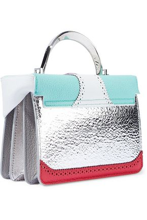 THE VOLON Two-tone textured-leather shoulder bag