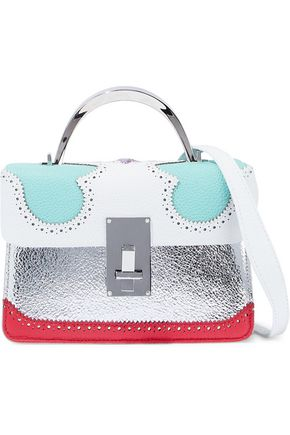 THE VOLON Laser-cut metallic color-block textured-leather shoulder bag