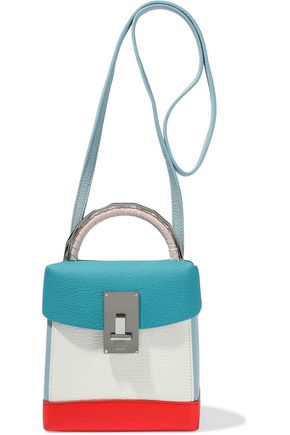 THE VOLON Color-block textured-leather shoulder bag