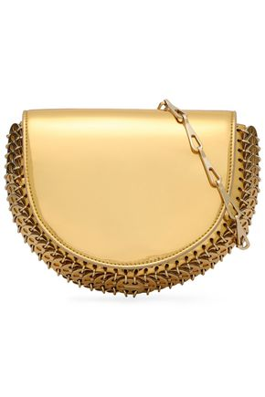PACO RABANNE Embellished mirrored faux patent-leather shoulder bag