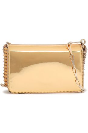 PACO RABANNE Embellished mirrored faux patent-leather clutch