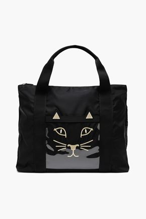 CHARLOTTE OLYMPIA Purrfect embroidered shell weekend bag