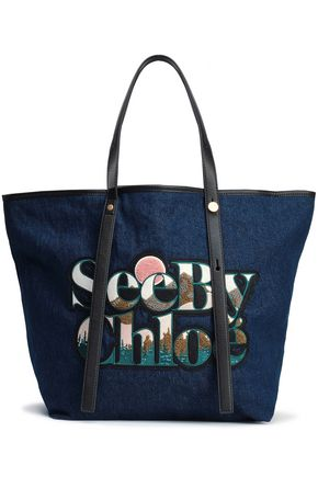 SEE BY CHLOÉ Andy leather-trimmed appliquéd denim tote
