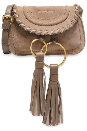 SEE BY CHLOÉ Tasseled leather-trimmed suede shoulder bag