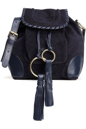 SEE BY CHLOÉ Polly tasseled leather-trimmed suede shoulder bag