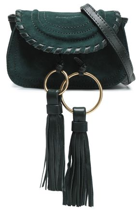 SEE BY CHLOÉ Tasseled whipstitched-trimmed suede shoulder bag