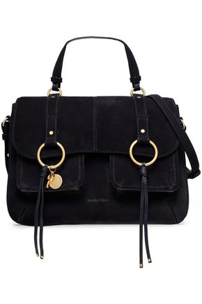 eddfa00d052d See By ChloÉ Woman Paneled Suede And Textured-Leather Shoulder Bag Midnight  Blue In Black