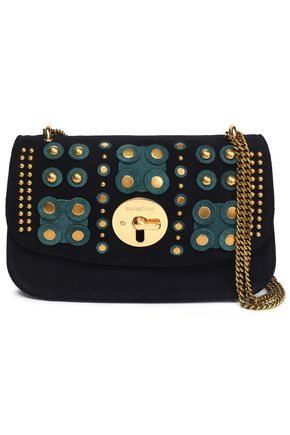SEE BY CHLOÉ Studded suede and textured-leather shoulder bag