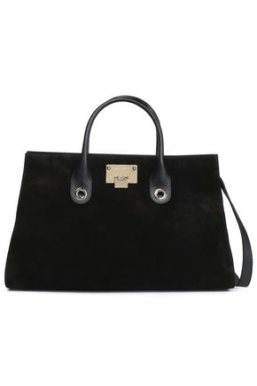 JIMMY CHOO Leather-trimmed suede tote