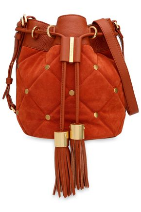 SEE BY CHLOÉ Studded quilted leather and suede bucket bag