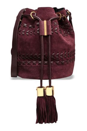 SEE BY CHLOÉ Tasseled leather-trimmed suede bucket bag
