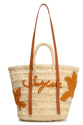 SEE BY CHLOÉ Faux leather-trimmed raffia tote