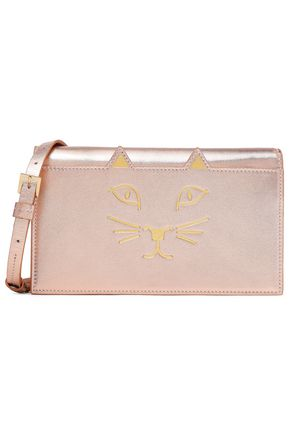 CHARLOTTE OLYMPIA Long Feline printed metallic leather clutch