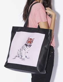 ARMANI EXCHANGE STREET ART BY PAUL FUENTES SQUARE TOTE Tote bag Woman r
