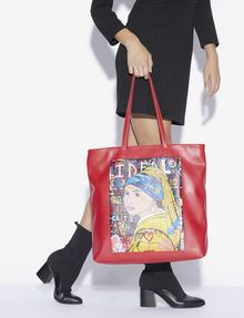 ARMANI EXCHANGE STREET ART BY PAUL FUENTES SQUARE TOTE Tote bag [*** pickupInStoreShipping_info ***] r