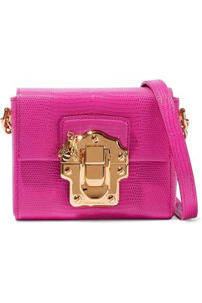 DOLCE & GABBANA Appliquéd lizard-effect leather shoulder bag