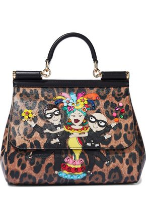 DOLCE & GABBANA Sicily appliquéd leopard-print textured-leather shoulder bag