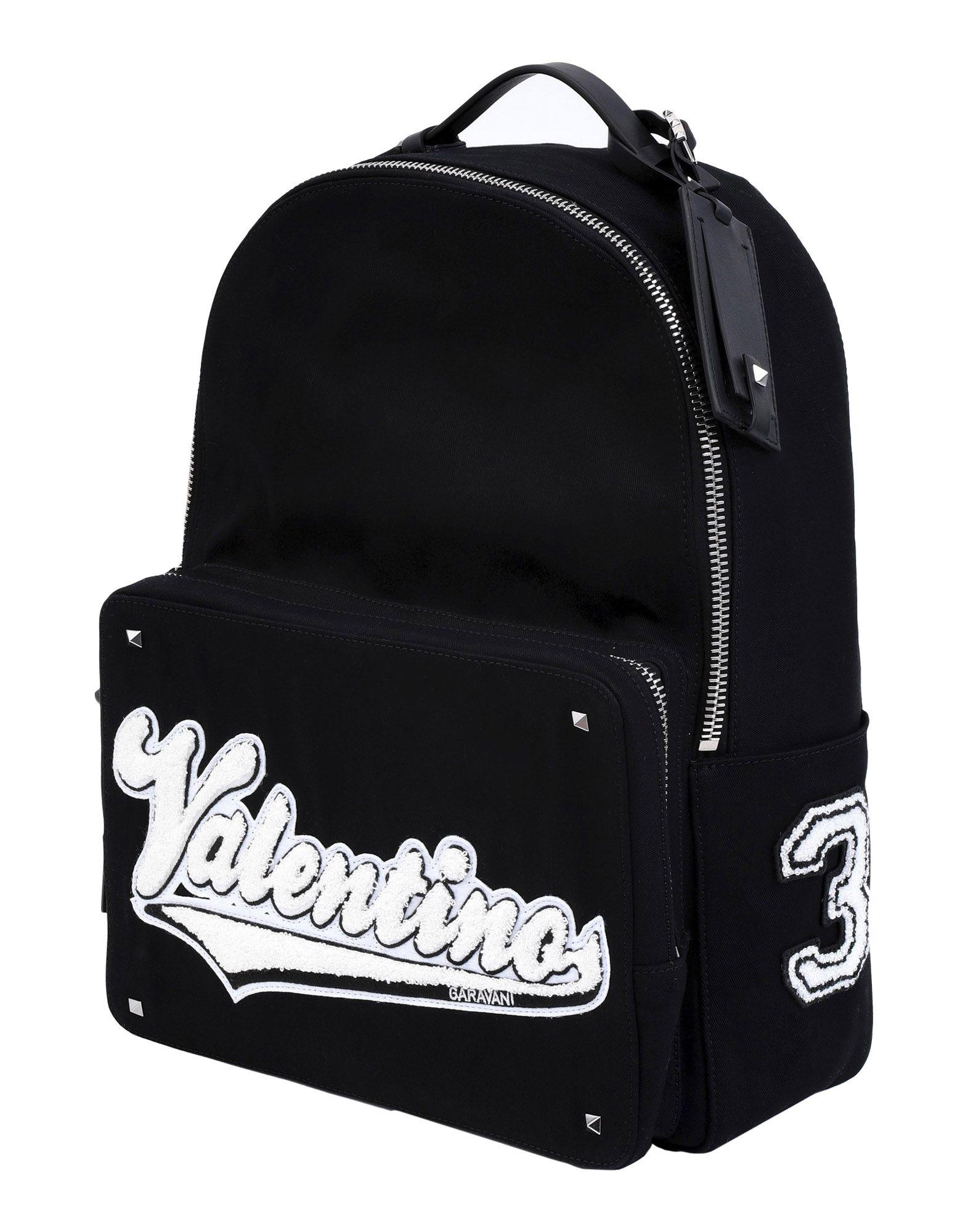 《送料無料》VALENTINO GARAVANI レディース バックパック&ヒップバッグ ブラック 紡績繊維 / 革