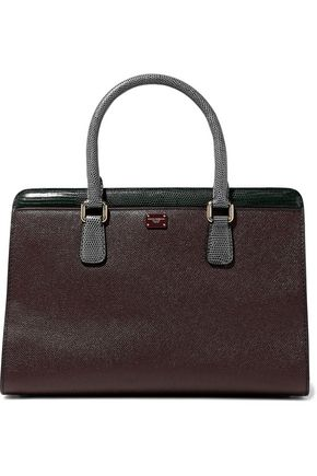 DOLCE & GABBANA Color-block lizard-effect and textured-leather tote