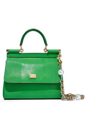 DOLCE & GABBANA Sicily mini lizard-effect leather shoulder bag