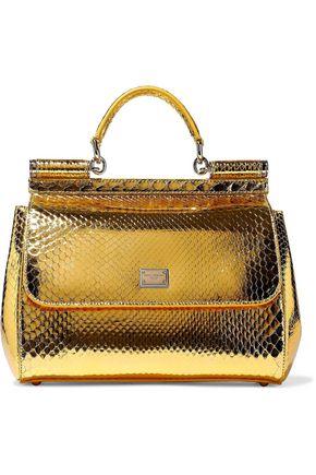 0ddc8e639bce DOLCE   GABBANA Metallic python shoulder bag