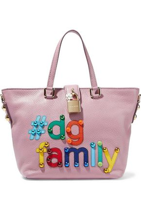 DOLCE & GABBANA #DG appliquéd textured-leather tote