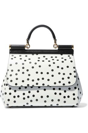 DOLCE & GABBANA Sicily polka-dot textured-leather shoulder bag
