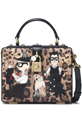 DOLCE & GABBANA Appliquéd leopard-print textured-leather shoulder bag