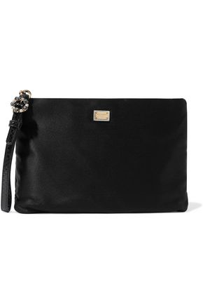 DOLCE & GABBANA Embellished snake effect leather-trimmed satin pouch