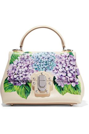 DOLCE & GABBANA Lucia floral-print textured-leather tote