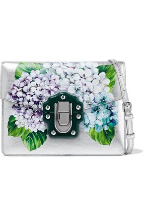 DOLCE & GABBANA Lucia floral-print metallic textured-leather shoulder bag